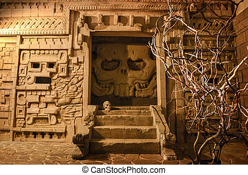 Ancient temple in mystical light - Mystery of Aztec temple...