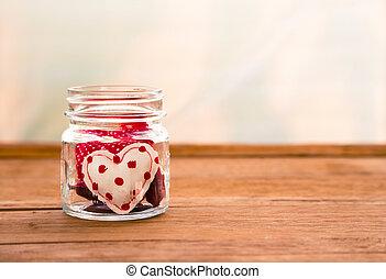 CÙte, Amor, tom, valentine, feito à mão, corações, Dia, vermelho