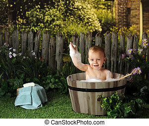 Old Time Bubble Bath - A happy toddler taking a bubble bath...
