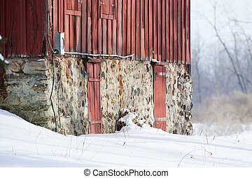 Red Barn - Details of a Red barn shot against the white...