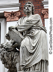 Saint Mark the Evangelist on the facade of Evangelical...