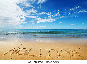 Holiday message on the sand