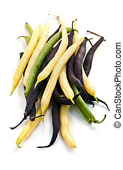 String beans - Pile of purple yellow and green string beans...