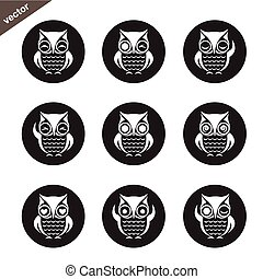 Vector group of owl in the circle on white background