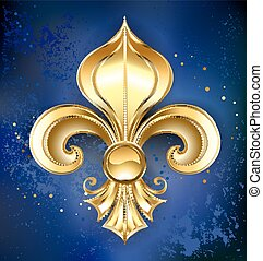 Gold Fleur-de-lis on a blue background - Gold Fleur-de-lis...