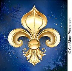 Gold Fleur-de-lis on a blue background - Gold Fleur-de-lis...