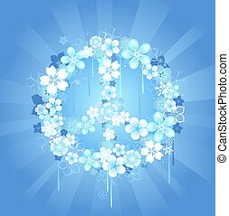 peace symbol with flowers on a blue background