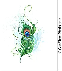 peacock feather - Arts painted a colorful peacock feather on...
