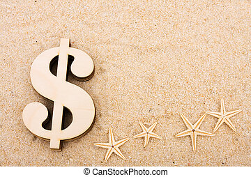 Vacation Money - A gold coloured dollar symbol sitting on a...