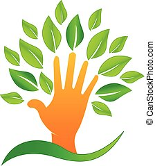 Vector hand with green leafs logo - Vector hand with green...