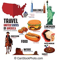 Infographic elements for traveling to USA - A vector...