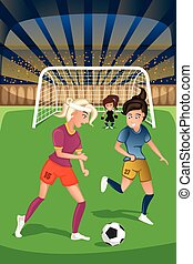 Women playing soccer in a match - A vector illustration of...