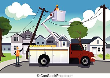 Worker fixing broken power lines - A vector illustration of...
