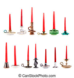 Candle holders collection - a collection of thirteen...