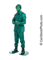 Man on a green toy soldier costume