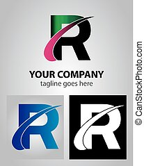 Abstract icon logo for letter R