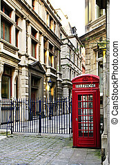 Telephone box in London - Red telephone box near old...