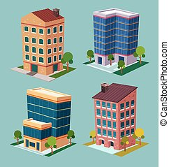 Isometric Building - various cartoon style isometric...