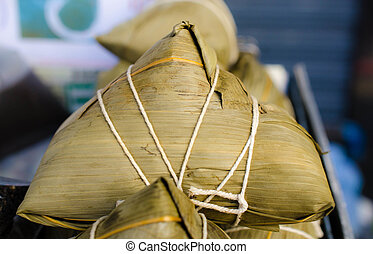 Zongzi , asian Chinese rice dumplin - Close up of Zongzi...
