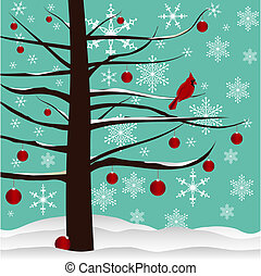 Christmas Background - Christmas tree with red Cardinal,...