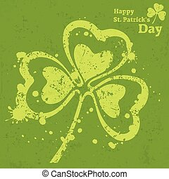 Three leaf clover grunge on green, vector illustration for...