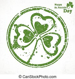 Three leaf clover grunge in round, vector illustration for...