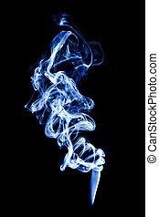 blue smoke isolated on black