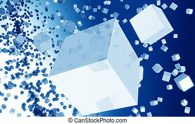 Abstract  cube falling background