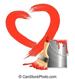 Love background - Painted red heart shape, bucket of paint...