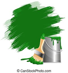 Paint smears - Vector background of thick green paint...