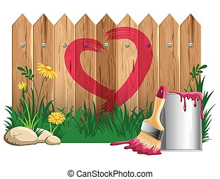 Love background - Red heart shape, painted on a wooden fence...