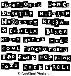 Música, genres, hecho, de, Cartas,