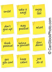 Set of sheets of paper with motivational and positive...
