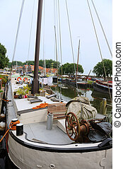 Boat in Enkhuizen - Typical big old sailboat in Enkhuizen...