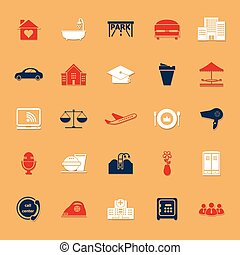 Hospitality business classic color icons with shadow, stock...