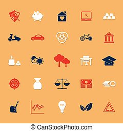 Sufficient economy icons on gray background, stock vector