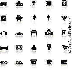 Personal financial icons with reflect on white background,...