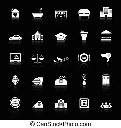 Hospitality business icons with reflect on black background,...