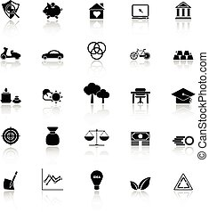 Sufficient economy icons with reflect on white background,...