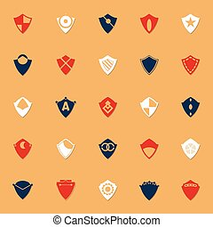 Design shield classic color icons with shadow