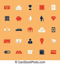 Personal financial flat icons with shadow, stock vector