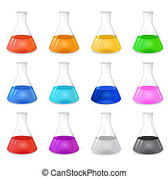 Conical flask with colored solution - Conical flask with...