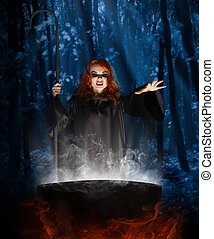 Witch with cauldron at night forest - Young witch with...