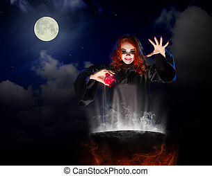 Witch with red potion on night sky background - Young witch...