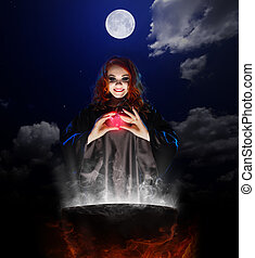 Witch with red potion and cauldron on night sky background -...