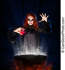 Witch with red potion on blue rays background - Young witch...
