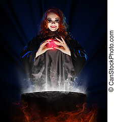 Witch with potion and cauldron on blue rays background -...
