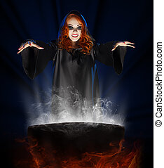 Witch with cauldron on blue rays background - Young witch...