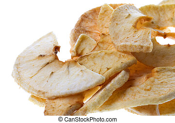 Dehydrated Apple Slices Isolated - Isolated macro image of...