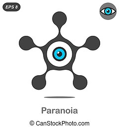 Paranoia concept icon, 2d flat illustration, vector, eps 8